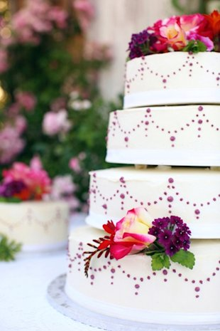 Purple, floral wedding cake for summer wedding