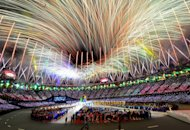 Fireworks explode over the stadium during the Closing Ceremony on Day 16 of the London 2012 Olympic Games at Olympic Stadium on August 12, 2012 in London, England. (Photo by Mike Hewitt/Getty Images)