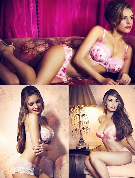Celebrity advertising campaigns: Kelly Brook poured her curves into an array of lingerie from her line with New Look. And guess what, they are all available in time from Valentine's.  Send your man th