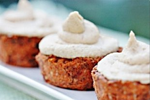 raw vegan carrot cake cupcakes with cream cheese frosting