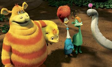 Tommy (voiced by Jonah Hill ), Katie (voiced by Joey King ), Mrs. Quilligan (voiced by Jaime Pressly ) and Jessica (voiced by Laura Ortiz) in 20th Century Fox's Dr. Seuss' Horton Hears a Who