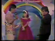 The young Pauleen Luna gets asked by Bossing himself during the show's question and answer portion. (Screen grab from Eat Bulaga video, used with permission)