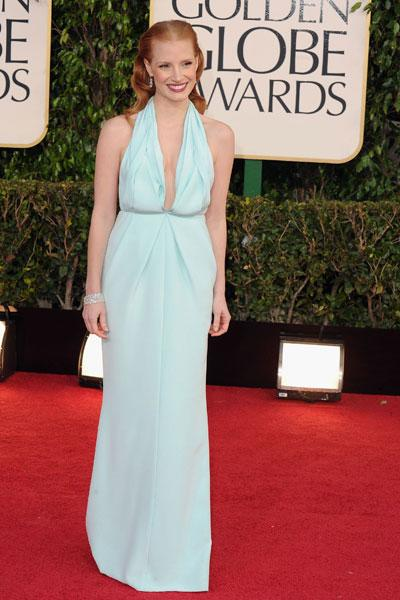 Jessica Chastain: She's the toast of Hollywood for her role in the controversial film 'Zero Dark Thirty' but her red carpet style is also a winner. The seafoam green gown fits her figure perfectly and just brightens her up. She's glowing! (Photo by Steve Granitz/WireImage)