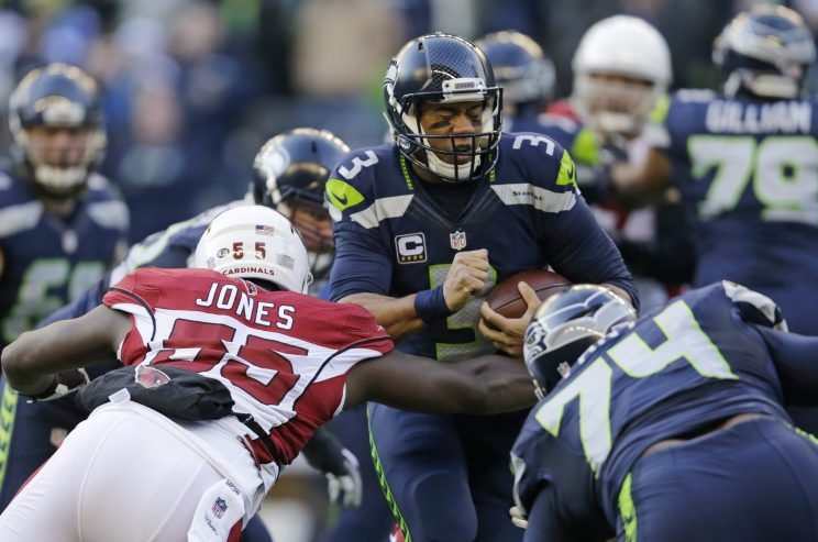 Russell Wilson leads the Seahawks into a playoff game against the Lions. (AP)