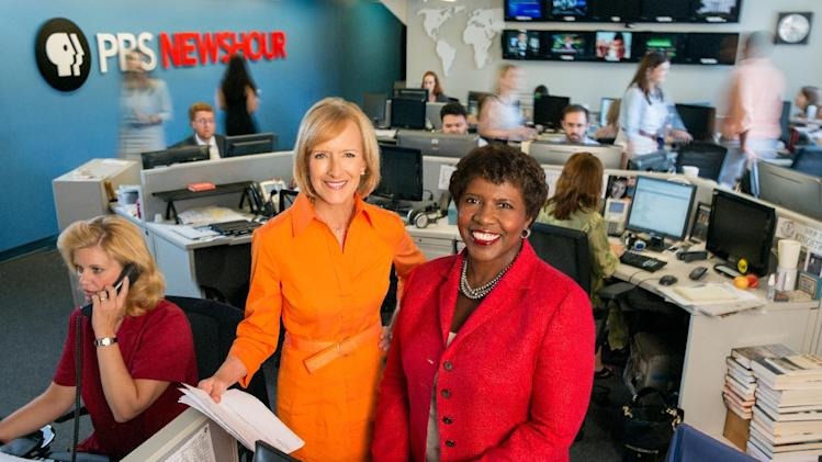 "This image provided by PBS shows co-anchors Judy Woodruff, left, and Gwen Ifill in the newsroom of ""PBS Newshour,"" a national news program. Ifill and Woodruff are the first women to co-anchor a national daily news program on television. (AP Photo/PBS, Robert Severi)"