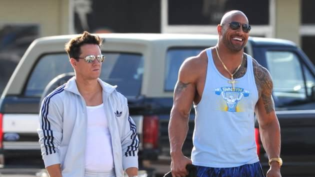 Mark Wahlberg and Dwayne 'The Rock' Johnson are sighted on the set of 'Pain And Gain' on April 4, 2012 in Miami -- Getty Premium