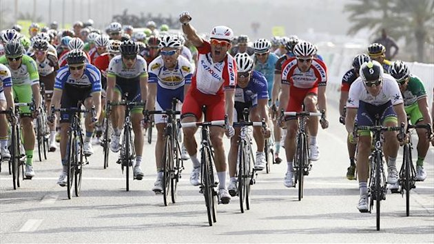 Katusha's Alexander Kristoff of Norway celebrates after winning the 130km (81 miles) stage two of the Tour of Oman (Reuters)