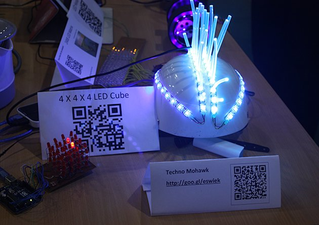 The Singapore Polytechnic booth featured outstanding student projects, such as this LED Mohawk cap.