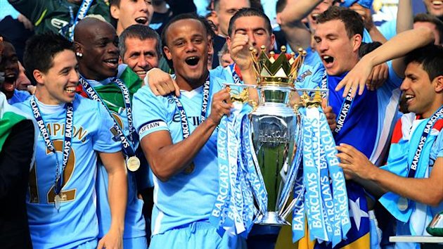 2011-12 Premier League Manchester City celebrate with trophy