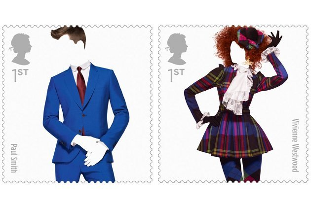 Die Designs von Paul Smith und Vivienne Westwood als Sondermarken (Bild: Royal Mail via www.telegraph.co.uk)