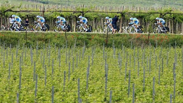 The Astana team rides during the Giro d'Italia in 2012 (AFP)