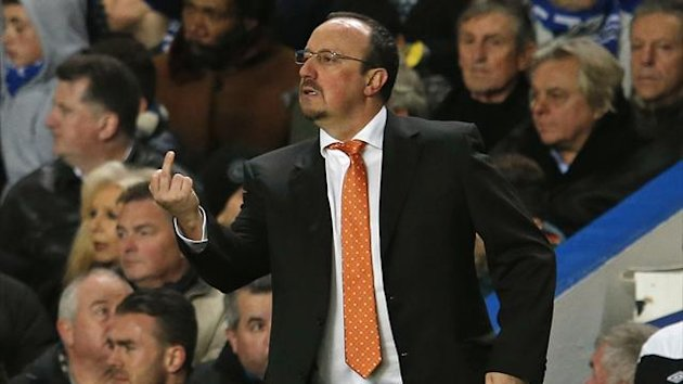 Chelsea's interim head coach Rafael Benitez gestures during their Premier League match against Fulham at Stamford Bridge Stadium in London (Reuters)