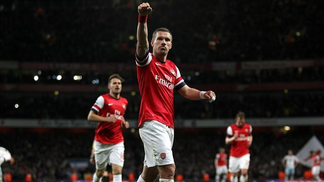 Premier League - Podolski double keeps Arsenal's top four hopes alive