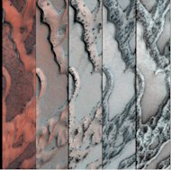 NASA's Mars Reconnaissance Orbiter snapped this series of pictures of sand dunes in the north polar region of Mars, showing how dark sand rises to the top as spring progresses (from left to right) and a surface layer of carbon dioxide ice crack