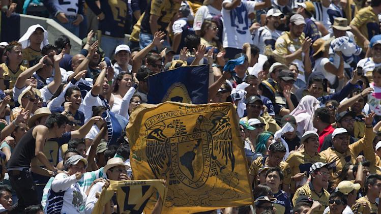 Pumas fans celebrates after a goal by Daniel Ramirez against Chivas during a Mexican soccer league match in Mexico City, Sunday, April  20, 2014
