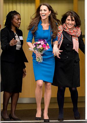 Kate Middleton Is Radiant in Bright Blue Dress at Art Room Opening: Pictures
