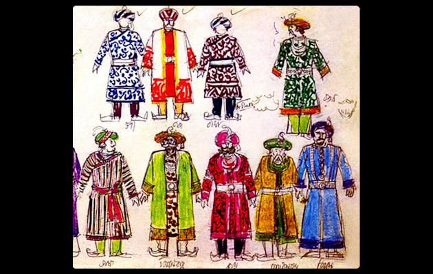 Courtiers of 'Hirok Rajar Deshe' with details of costume from Ray's notebook