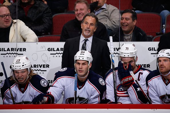 GLENDALE, AZ - DECEMBER 17: Head coach John Tortorella of the Columbus Blue Jackets watches from the bench during the NHL game against the Arizona Coyotes at Gila River Arena on December 17, 2015 in Glendale, Arizona. The Blue Jackets defeated the Coyotes 7-5. (Photo by Christian Petersen/Getty Images)