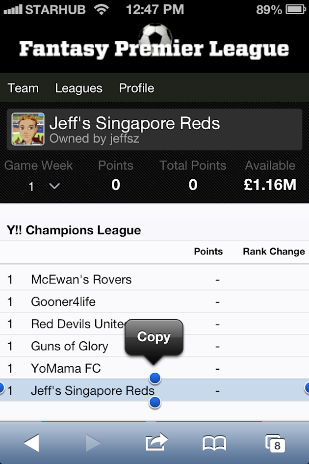 Keep in touch with your own league's leaderboard on mobile (Screengrab)