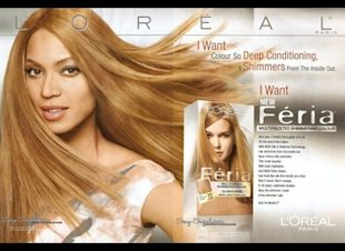 In 2008 L'Oreal was accused of lightening Beyonces skin in this Feria ad