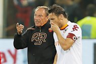 AZdenek Zeman (left) speaks to Francesco Totti during a game against Genoa at Luigi Ferraris stadium in October. Zeman is a legendary figure in football, having coached a number of top teams including Lazio, Fenerbahce, Napoli and Red Star Belgrade