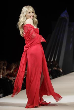 Christie Brinkley during the Heart Truth Red Dress fashion show in New York, Wednesday, Feb. 8, 2012.  (AP Photo/Kathy Willens)