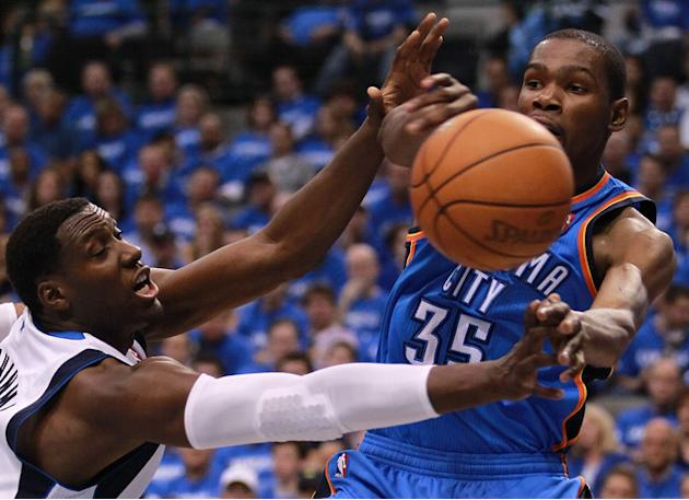 Kevin Durant #35 Of The Oklahoma City Thunder Passes Getty Images