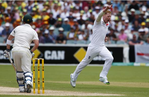 England's Stokes celebrates the dismissal of Australia's Haddin during the second day of the second Ashes test cricket in Adelaide