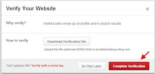 How to Verify Your Website and Blog on Pinterest image Complete Verification by Clicking on the Red Button