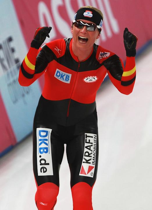 Claudia Pechstein Of Germany Celebrates Bongarts/Getty Images