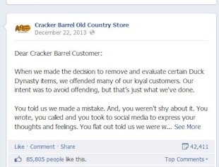 The First Rule of Business Growth – Know Your Customers image cracker barrel duck dynasty apology