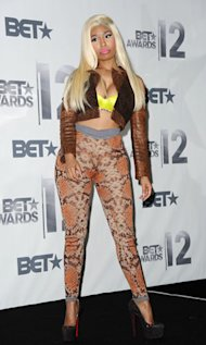 What were you thinking? Nicki Minaj goes all crocodile rocks in skin tight trousers
