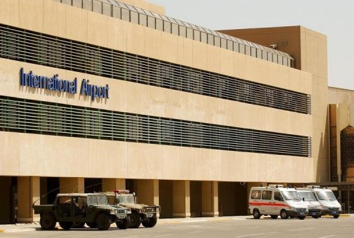 View of the main terminal at Baghdad International Airport. Iraq is determined to stop and search flights from Iran over its territory which are suspected of carrying weapons to Syria, Foreign Minister Hoshyar Zebari has told the Arabic daily Al-Hayat