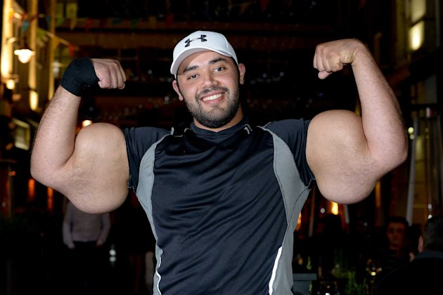 Moustafa Ismail, 24, who has the largest biceps in the world