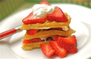 Strawberry Shortcake Heart Waffles