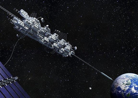 Payloads and people get a lift off Earth in this artist's illustration by the Japan Space Elevator Association.