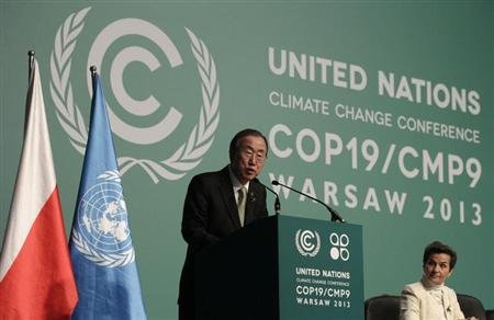 U.N. Secretary General Ban Ki-moon delivers a speech as he attends the Convention on Climate Change COP19 conference at the National Stadium in Warsaw November 19, 2013. REUTERS/Kacper Pempel