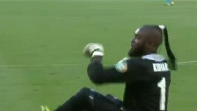 Backside-hopping keeper celebrates goal