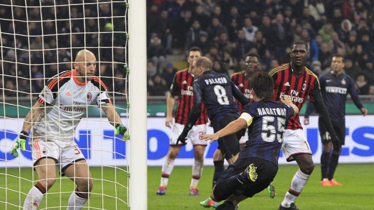 AC Milan's goalkeeper Abbiati reacts after Inter Milan's Palacio shoot to score during Italian Serie A match in Milan