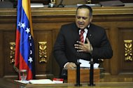 National Assembly speaker, Diosdado Cabello, delivers a speech at the parliament in Caracas, on January 5, 2012. Cabello is urging Venezuelans not to be fixated of the date of January 10 when Hugo Chavez's searing-in ceremony is scheduled to take place. Chavez is currently recovering from cancer surgery in Cuba