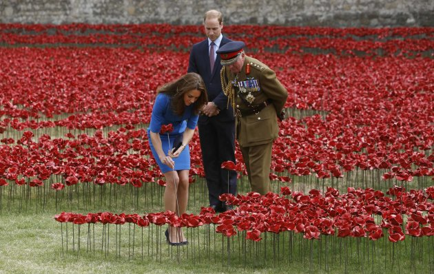 "Britain's Catherine, Duchess of Cambridge plants a ceramic poppy watched Prince William and Richard Dannatt (R) at the Tower of London's '""Blood ..."