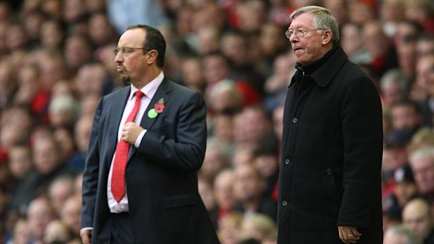 Liverpool manager Rafael Benitez (left) and Manchester United manager Alex Ferguson (right) together on the touchline (PA Photos)