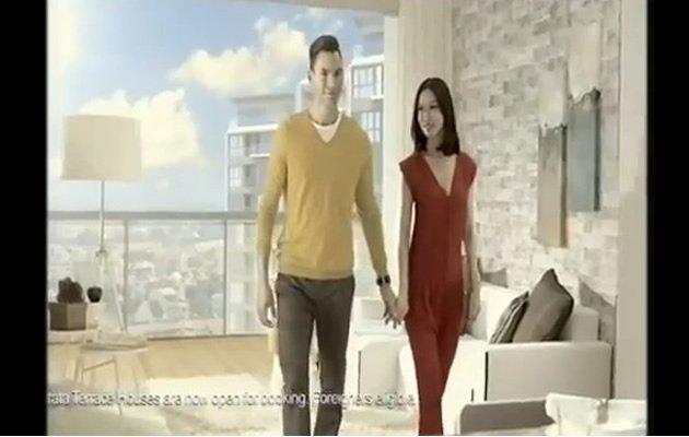 Peh and Tonelli were a very public couple, and even appeared in a condominium ad together (Youtube screengrab)
