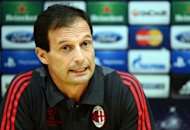 AC Milan coach Massimiliano Allegri, seen here on September 17, has been suspended for one match after protesting to match officials during his side's 2-1 defeat at Udinese