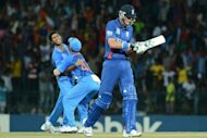 "India's Ashok Dinda (L) celebrates after he dismissed England's Stuart Broad (R) during their World Twenty20 match in Colombo on September 23.""Any international defeat is really frustrating, especially when you put in a performance like that,"" Broad said"
