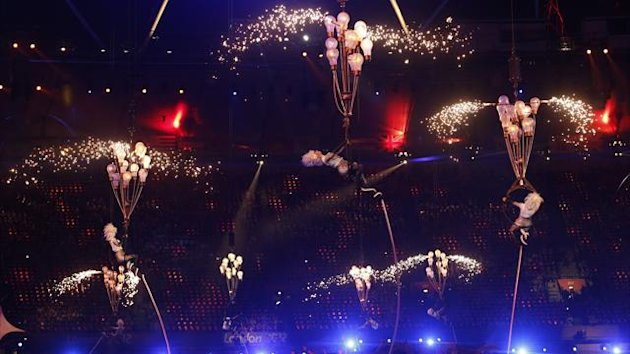 Performers are hoisted in the air in the Olympic Stadium during the closing ceremony of the London 2012 Paralympic Games (Reuters)