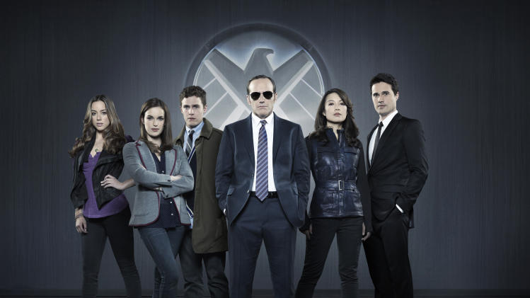 "This publicity photo released by ABC shows from left, Chloe Bennet, Elizabeth Henstridge, Iain De Caestecker, Clark Gregg, Ming-Na Wen, and Brett Dalton in Marvel's ""Agents of S.H.I.E.L.D,"" produced by ABC Studios and Marvel Television. (AP Photo/ABC, Bob D'Amico)"