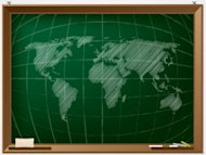 World map drawn on chalcboard