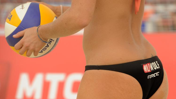 A Beach volleyball player takes part in