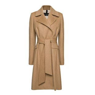 Camel belted coat by Mango
